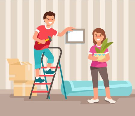 Happy young family man and woman moving to a new home. Concept design repair and construction of new housing. Vector illustration in flat style. Illustration