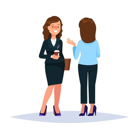 Vector illustration of couple businesswoman drinking coffee and talking converse whisperer isolated. Business people communication white background Иллюстрация