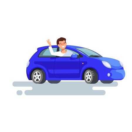 행복 한 남자 드라이버의 벡터 평면 그림 그의 파란 차에 앉아 그의 손을 흔들었다. 새 차 구매의 설계 개념 일러스트
