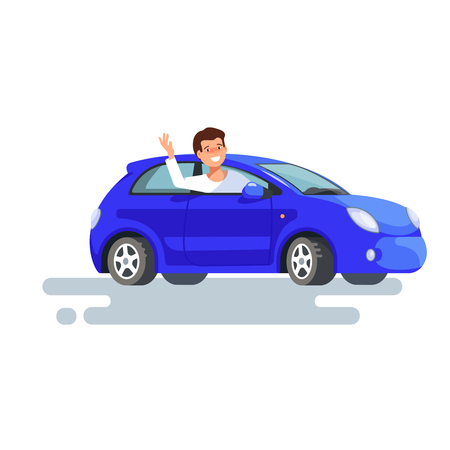 Vector flat illustration of happy man driver waved his hand sitting in his blue car. Design concept of buy a new car Vectores