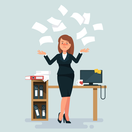 fiasco: Vector illustration of stressed businesswoman throws in the air of office paper workplace on blue background. Concept of angry and exasperated employee Illustration