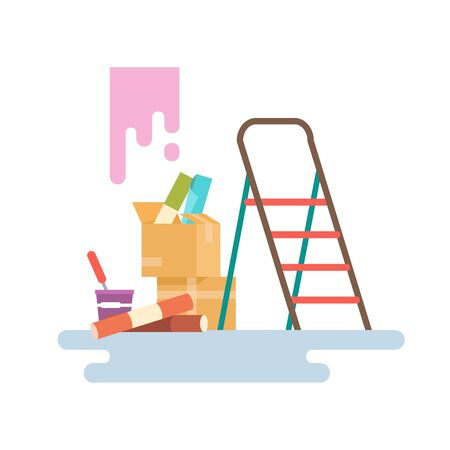 Vector illustration flat icon of wallpaper decoration tools on a white background isolated. Concept design repair and construction Illustration