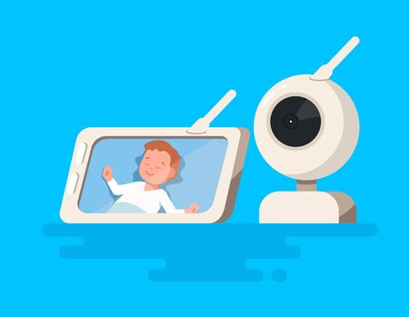 Vector illustration of video baby monitor with child sleeping in baby cot show on the screen.