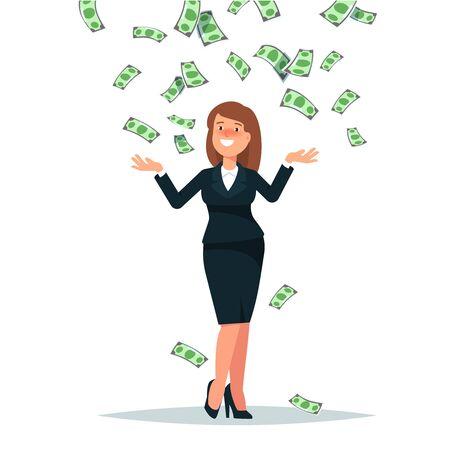 Vector illustration of happy businesswoman celebrates success standing under money rain banknotes cash falling on white background. Concept of success, achievement, wealth flat style Illustration