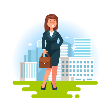Vector illustration icon of successful business woman standing on the background cityscape skyscraper. Concept career businessperson