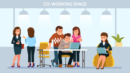 Vector illustration young adult people meeting working and talking discuss ideas co working center. Team teamwork togetherness collaboration Illustration