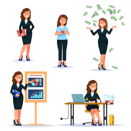 Vector illustration set young business woman characters and situations. Presentation, workplace, money falling, secretary cartoon flat style isolated background