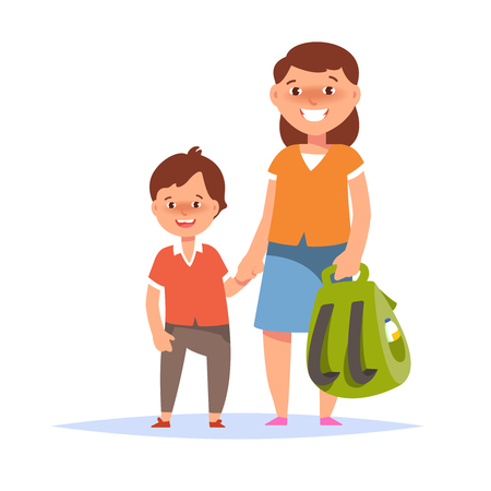 school: Vector illustration of mother and son elementary schoolboy go to school on white background flat cartoon style. Back to school concept Illustration