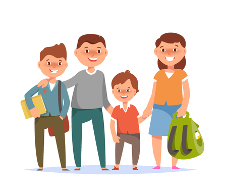 schoolchildren: Vector illustration of happy family standing togetherness father, mother, son elementary schoolboy student go to school on white background flat cartoon style. Back to school concept