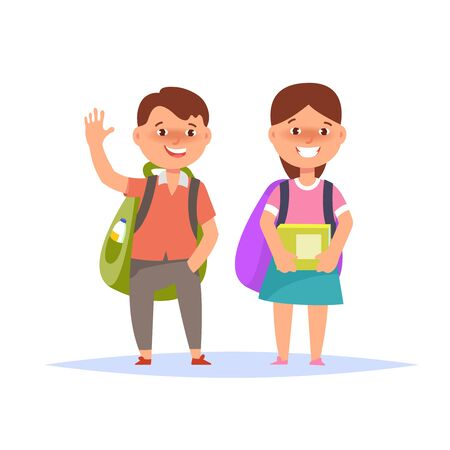 first grade: Vector illustration of happy couple schoolboy and schoolgirl elementary standing with book and backpack isolated. Back to school concept
