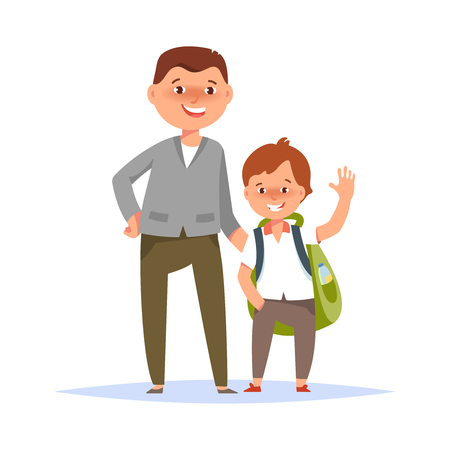 first grader: Vector illustration of father and son elementary schoolboy go to school on white background flat cartoon style. Back to school concept