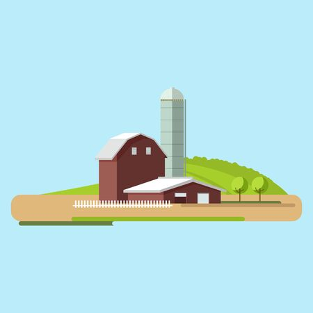 Vector flat illustrations farm in village.Rural landscape with buildings, hills, fields. Illustration