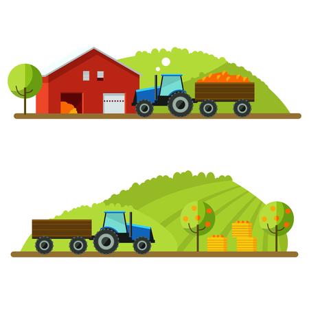 labranza: Diseño plano de la ilustración de la cosecha del vector. Granja, paisaje rural, fondo del vector. Máquinas agrícolas.