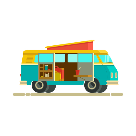 Illustration retro camper van.The journey by car. Small camper van with with accessories. Retro camper van luggage. Car for the whole family. Car family isolated Illustration