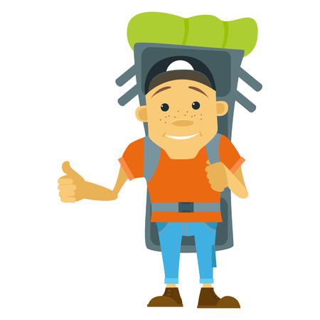 Illustration in flat style. Hitchhiker and tourist. Young man hitchhiker tourist with large backpack. Hitchhiker and traveler shows gesture hitchhiking