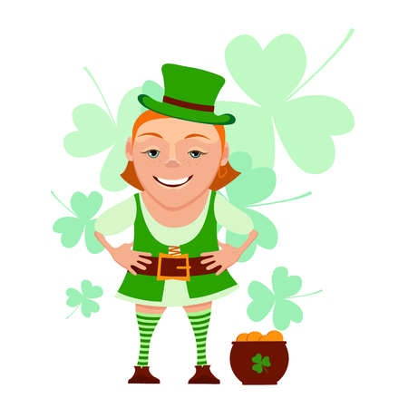 Cartoon girl leprechaun with pot and leaf clover isolated on a white background. Vector illustration of a girl leprechaun smiles and welcomes. Character girl leprechaun for St. Patricks Day