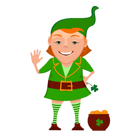 Cartoon girl leprechaun with pot and leaf clover isolated on a white background. Vector illustration of a girl leprechaun. Illustration