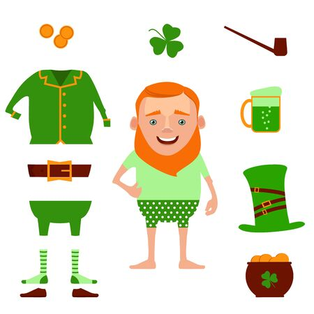St. Patricks Day vector design elements set. Vector illustration of funny cartoon leprechaun and design decoration items. Illustration