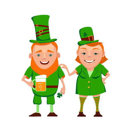 Illustration of two happy leprechauns. Cartoon the leprechauns are in green clothes, a hat and smiling. Vector characters for St. Patricks day