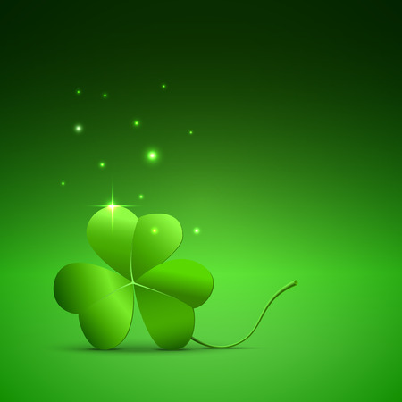 three leaved: Clover leaves on a green background. Illustration for St. Patricks Day with leaves of clover.