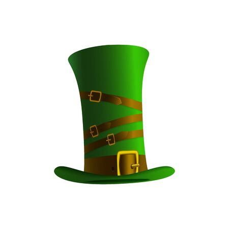 celtic background: Illustration of a leprechaun hat on a white background. Green hat leprechaun for St. Patricks Day. Elements for a card to the St. Patricks Day Stock Photo