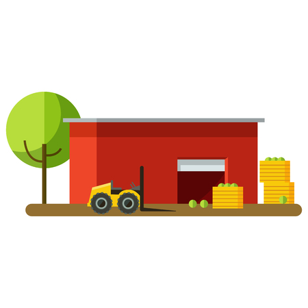 Vector illustration of harvesting and storage of crops. Harvest storage. Red storage and fruit harvest. Truck loads of fruit harvest Illustration