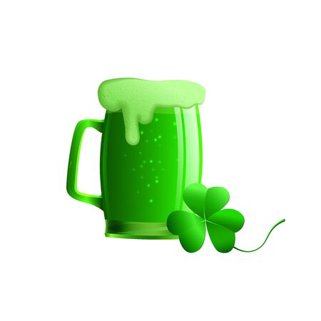 erin: Set of vector illustration of a glass of beer and a clover leaf. Objects a glass of green beer, shamrock isolated St. Patricks day. On a white background. Illustration