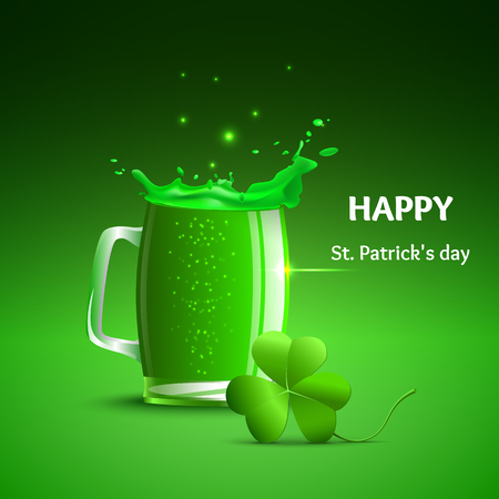 Glass of beer,  splashes and a clover leaf. Objects a glass of green beer, shamrock  St. Patricks day.