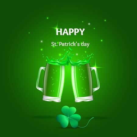 erin: Set of vector illustration of a glass of beer,  splashes and a clover leaf. Objects a glass of green beer, shamrock  St. Patricks day.