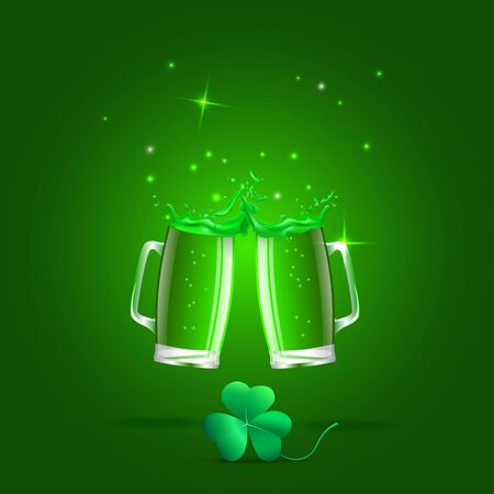 erin: Set  illustration of a glass of beer,  splashes and a clover leaf. Objects a glass of green beer, shamrock  St. Patricks day.  Stock Photo