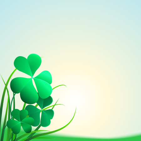 Illustration of clover leaves and grass on a blue background. Field clover leaves. Background with clover and glass for St. Patricks day