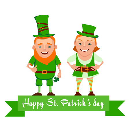 Vector illustration of two happy leprechauns. Cartoon the leprechauns greet and smile. Vector characters for St. Patricks day. Elf leprechaun patrick and leprechaun girl for your design.
