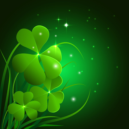 st  patrick's day: Illustration of clover leaves and grass on a blue background. Field clover leaves. Background with clover and glass for St. Patricks day