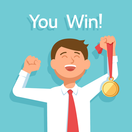 jubilation: Young happy businessman winner with award champion gold medal celebrates victory and success. Vector illustration you win on blue background Illustration