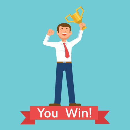 Young happy businessman winner with award champion cup celebrates victory and success. Vector illustration you win on blue background