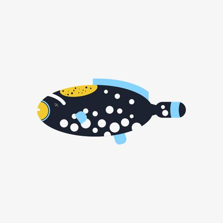 Vector flat illustration Picasso Triggerfish sea tropical fish on white background.