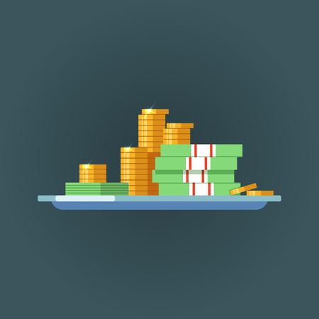 평면 디자인에 개념 현금입니다. 벡터 일러스트 레이 션 황금 동전 및 지폐의 더미와 함께 현금 스택. 성공과 금융