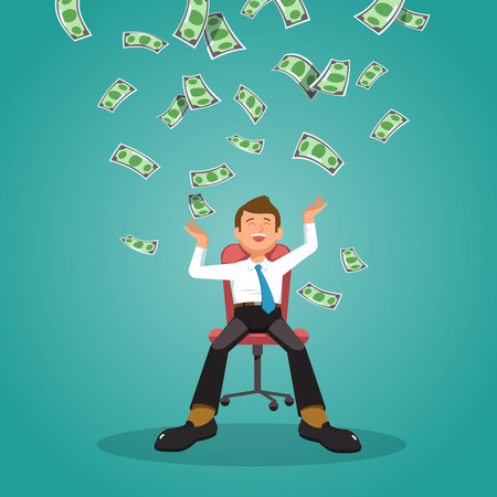 Vector illustration of happy businessman celebrates success sitting in an office chair under money rain banknotes falling on blue background. Concept of success, achievement, wealth flat style