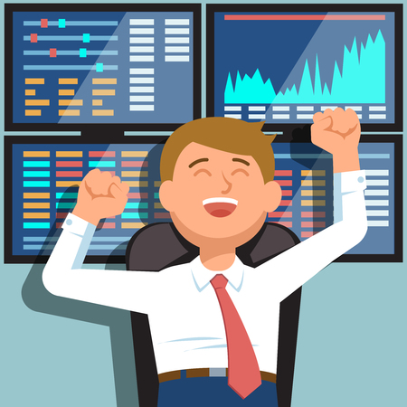 stock exchange brokers: Successful businessman young trader with hands raised on background of blue computer screen with stock market graph diagram information. Vector illustration of happy trader success