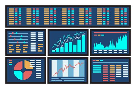 investor: Concept of blue computer display screen with stock market graph diagram information. Vector illustration of business company financial balance stock exchange market