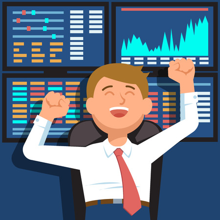 Successful businessman young trader with hands raised on background of blue computer screen with stock market graph diagram information. Vector illustration of happy trader success