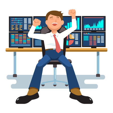 Vector illustration successful businessman young trader with hands raised sitting at trader desk in trader room with computer stock market graph diagram information isolated. Concept business success 일러스트