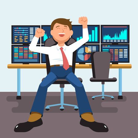 Vector illustration successful businessman young trader with hands raised sitting at trader desk in trader room with computer stock market graph diagram information isolated. Concept business success Illustration