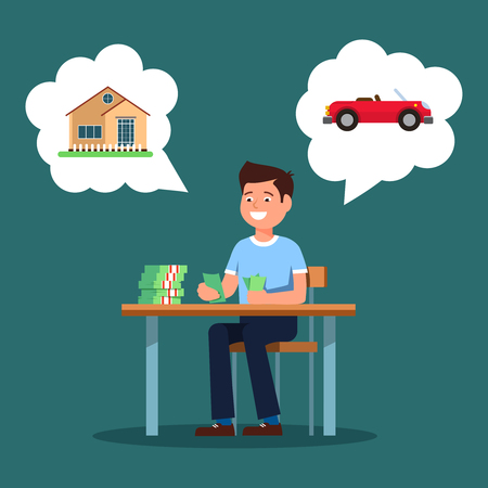 Young businessman sitting at the table and count money profit growth. Vector illustration of young man smiling happy profit growth and wants to buy house and car