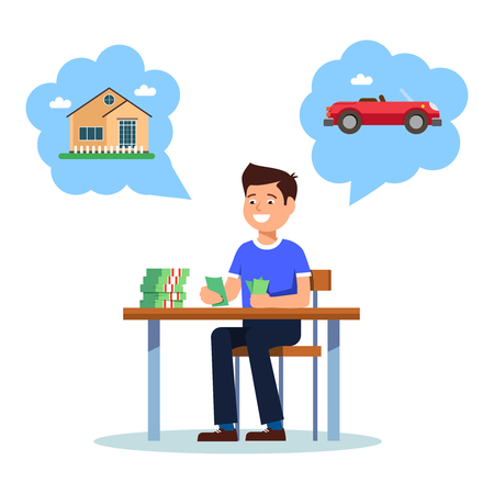 salarios: El hombre de negocios joven que se sienta en la tabla y cuenta crecimiento del beneficio de dinero en el fondo blanco. Vector la ilustración del crecimiento sonriente feliz del beneficio del hombre joven y quiere comprar la casa y el coche Vectores