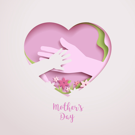 Concept mothers love or mother care with elements hands, flowers and shapes in the frame heart.