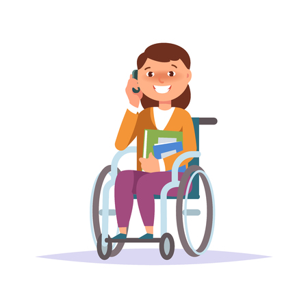 Vector illustration of disabled kid girl student in child wheelchair with texbook and gadget isolated.