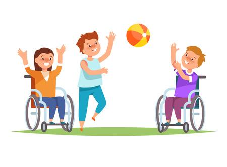 グループ子車椅子で幸せな障害子供はボールと友達を一緒に遊ぶ。