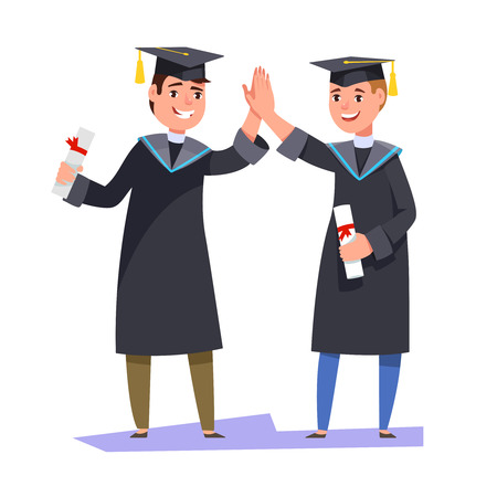 greet: Couple happy smiling graduates man students friends in graduation gowns holding diplomas and congratulate each other raise high the hands. Vector illustration graduation ceremony flat style