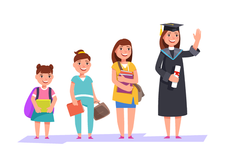 Set character different ages elementary school girl,secondary schoolgirl, students of college, university and graduate . The stages of growing up woman student Иллюстрация